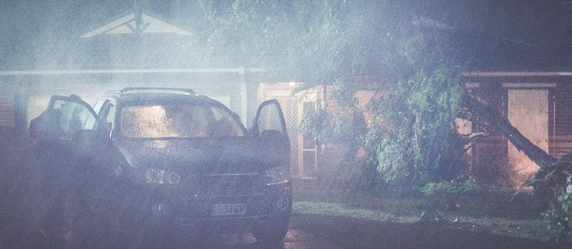 Car in a storm