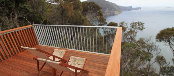 Deckchairs at 3 Capes Track Hut