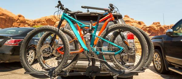 Bike on racks on the back of a 4WD